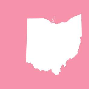"""18"""" Ohio silhouette - white on pink"""