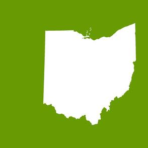 """18"""" Ohio silhouette - white on leaf green"""