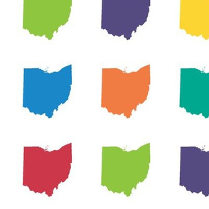 "3"" mini Ohio silhouettes - multicolored on white"