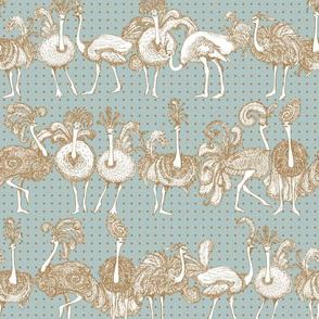 Petite Fancy Ostriches in Blue Dot