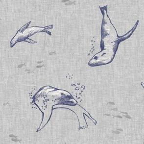 Sea Lion Ocean Fabric (large scale) | Sea animals beach fabric, seal print fabric for beach wrap, coastal decor.
