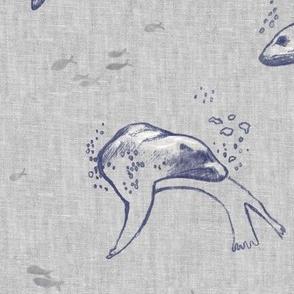 Sea Lion Ocean Fabric (xl scale) | Sea animals beach fabric, seal print fabric for beach wrap, coastal decor.