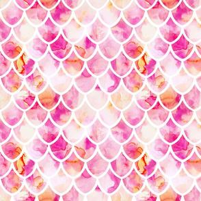 pink watercolor mermaid scales