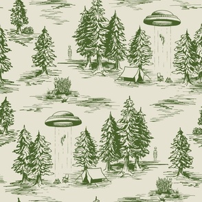 Large-Scale Green Alien Abduction Tiole de Jouy Pattern