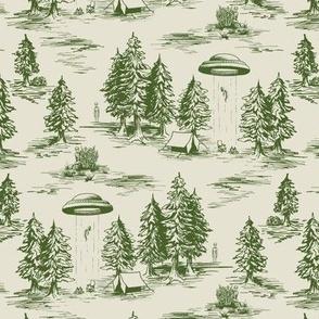 Small-Scale Green Alien Abduction Toile de Jouy Pattern