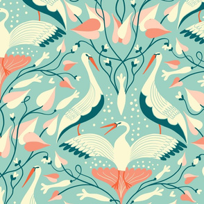 art deco flow birds // large scale