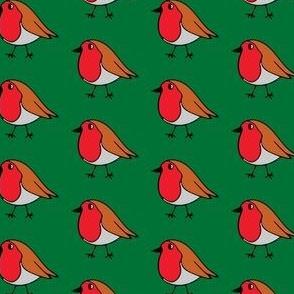 Robin print on festive green