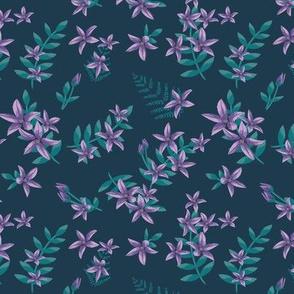 Vintage Flowers Prussian Blue