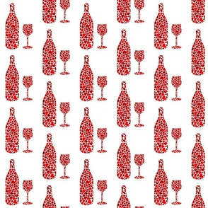 wine love- bottle of alcoholic beverage and red hearts