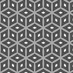 Grey and White Hexagonal Monochrome Geometric  Pattern