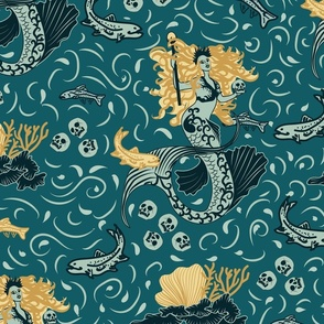 Gothic Mermaid Witch- Halloween in the Magical Realm- Teal and Gold- Large Scale
