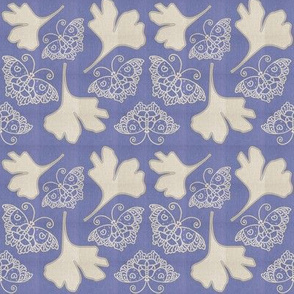 BLUE BUTTERFLIES fabric-1B with GINGKO leaves  linen-colors-mixnatural-on WISTERIA-MOVED