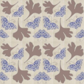 BLUE BUTTERFLIES fabric-1B with GINGKO   linen-colors-wisteria-cocoabrown-mixnatural-on-MIXNATURAL-MOVED