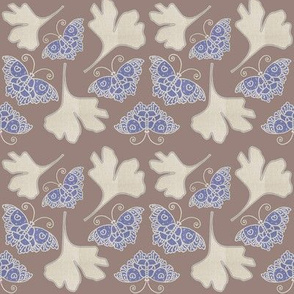 BLUE BUTTERFLIES fabric-1B with GINGKO linen-colors-wisteria-mixnatural-COCOABROWN-MOVED