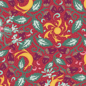 Winter Solstice- Scandinavian Pagan Maximalist Celebration-Sun Moon Acorn Holly Mistletoe- Auburn Red Gold Plum Viridian Green Cyan Pink- Large Scale
