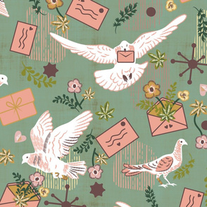 Pigeon Post- With Love- Snail Mail Vintage Style- Greenish Ash Gray/Jade Green Grey- Large Scale