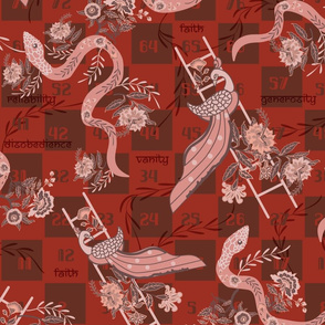 Snakes and Ladders- Chintz Peacock and Flowers- Rust ,Sienna, Rose Quartz, Salmon, Apricot, Marsala- Large Scale