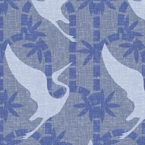 Zen Deco Tropics- Art Deco Bamboo and Cranes- Periwinkle Blue- Large Scale