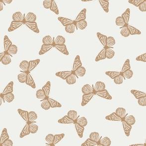 butterflies fabric - neutral boho butterfly fabric