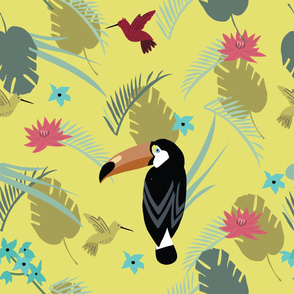 Tropic bird toucan and multicolor parrot on the background exotic lotus flower and palm leaf on yellow background. Print summer floral plant. Nature animals wallpaper. Seamless vector pattern