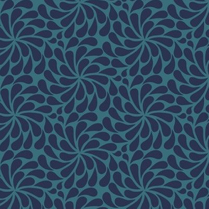 In a Spin - mini, navy on teal