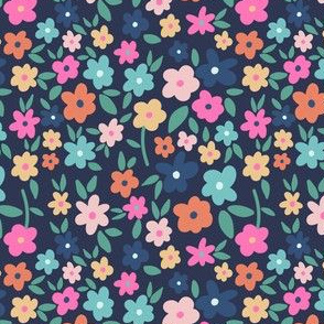 Floral | Small scale | Blue Background
