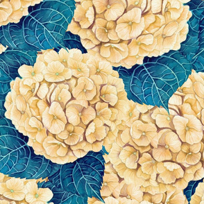 Hydrangea watercolor pattern, yellow and blue