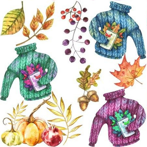 Autumn Pumpkins Leaves Sweaters