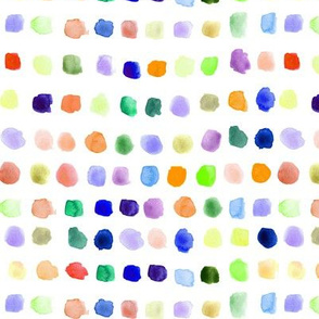 Rainbow watercolor small spots - painted colorful stains for modern nursery_ kids_ baby