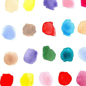 Rainbow watercolor spots - larger scale painted colorful stains for modern nursery_ kids_ baby