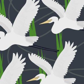 flock of heron - grey lines - sm