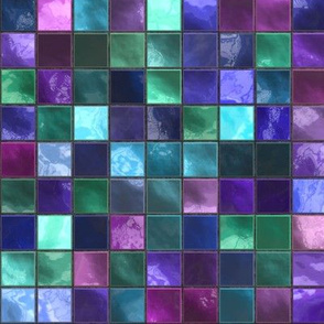 Blue, Pink, Green and Purple Square Tile Pattern