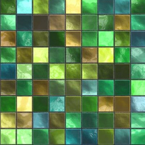 Green, Turquoise and Yellow Square Tile Pattern