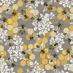 Save The Honey Bees - Taupe - Large