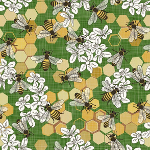 Save The Honey Bees - Bright Green - Large