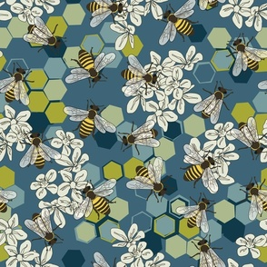 Save The Honey Bees Teal - Green - Large