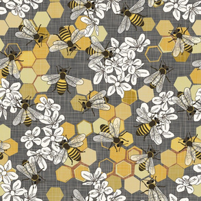 Save The Honey Bees - Grey - Large