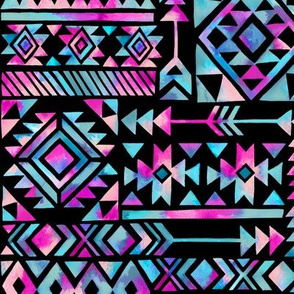 Tribal Summer /  Pink Turquoise on Black Background / Large Scale