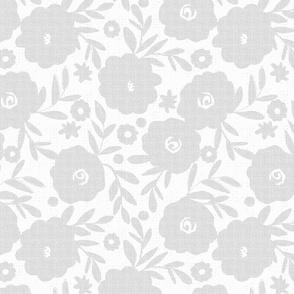 Gray tweed flowers on white