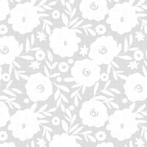 white flowers on gray tweed -paler