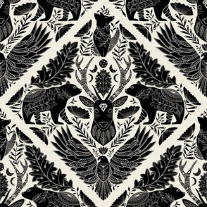 Large Scale, Black Wildlife forest Spirit Animals, Moon Phases and Art Nouveau Florals