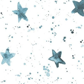Moondust and stars - saturated teal watercolor night sky with splatters and stars for modern nursery baby