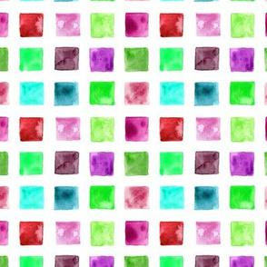 Watercolor mosaic - colorful squares