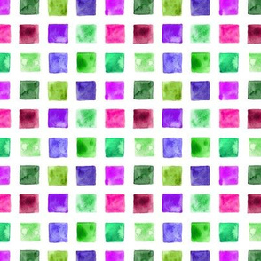Watercolor mosaic in pink, green, purple p97