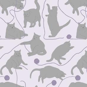 Fat Gray Cats and Yarn