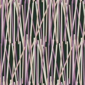 Crazy stripes-purple on DARK GREEN