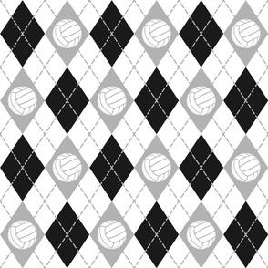 black gray white volleyball sports argyle pattern