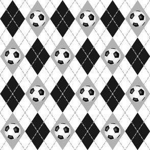 black gray white soccer sports argyle pattern