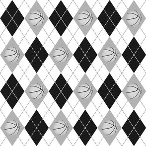 basketball themed black gray white argyle sports pattern