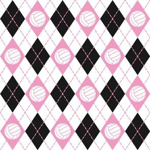 volleyball argyle plaid pink black white